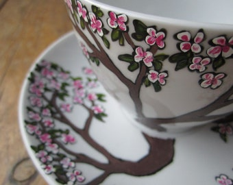 Hand painted cherry blossom tea cup and saucer, birthday or wedding gift