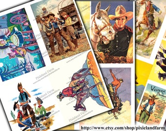 Vintage Cowboy Clip Art Printable Digital Download