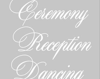 Set of 3 Wedding Directional Decals DIY vinyl decal/sticker/DIY wood sign wedding direction Ceremony Reception Dancing