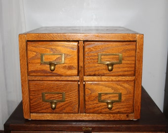 Vintage Wood 4 Drawer Wood Card Catalog