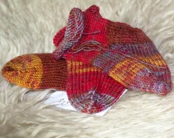 Rolled Cuffed Baby Socks - Warm Colored Stripe