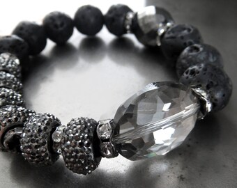 Black and Silver Bracelet with Crystal, Sparkle Encrusted Beads, Black Lava Beads - Adjustable Fit - Goth Gothic Punk Rocker Girl Jewelry