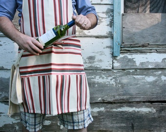 Large mens apron, striped apron, chefs apron, cotton apron