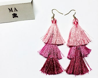 Pink tassle fringe earrings