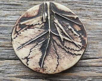 Handmade Ceramic Cabochon   Birch Leaves in a Rustic Brown   by Mary Harding