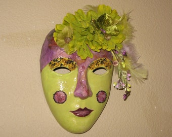 Paper Mache  Mask, Venetian, Marti Gras, Lime, lavendar, purple, silk flower, beads, feathers, bling  by Jewellgem on etsy