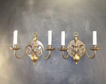 Pair of Vintage Brass Double Arm Wall Sconce Light Fixtures