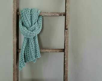 lightweight wrap shawl scarf crochet Summer cotton slow fashion small batch boho versatile striped texture