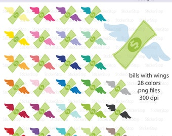 Money with Wings Icon Digital Clipart in Rainbow Colors - Instant download PNG files