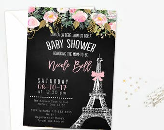 Floral baby shower invitation, Paris baby shower invitation, Eiffel tower baby shower invitation, baby shower invitation, pink flower invite