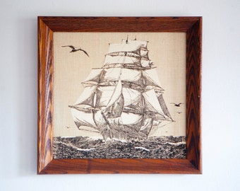 Vintage Nautical Tall Ship Art