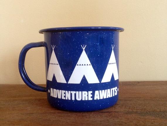 Adventure Awaits | Mug | Enamel Mug | Teepee Tent | Personalized Mug | Camping Mug