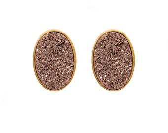 Druzy Stud Earrings - Druzy Studs - Rose Gold Druzy - Gold Studs - Large Oval Studs - Gold Stud Earrings