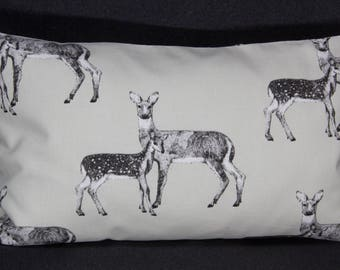 Pillow Case/upholstery with roe deer, beige, 50 x 30 cm
