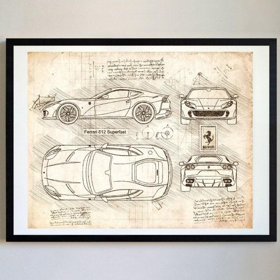 Ferrari 812 superfast 2017 da vinci sketch ferrari artwork ferrari 812 superfast 2017 da vinci sketch ferrari artwork blueprint patent prints posters art car art cars 428 malvernweather Gallery
