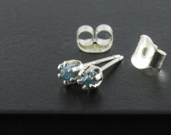 Tiny Raw Diamond Stud Earring - 2mm Sterling Silver Posts - Rare Blue Rough Uncut Diamonds - Rough Diamonds - April Birthstone
