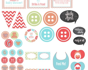 Cute as a Button Party Pack (Baby Shower)