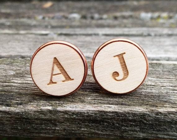 Custom Monogram Cufflinks. Personalized Monogram. Wedding, Men, Groom Gift, Fifth Anniversary Gift, Valentine's Day. Wood. Groomsmen