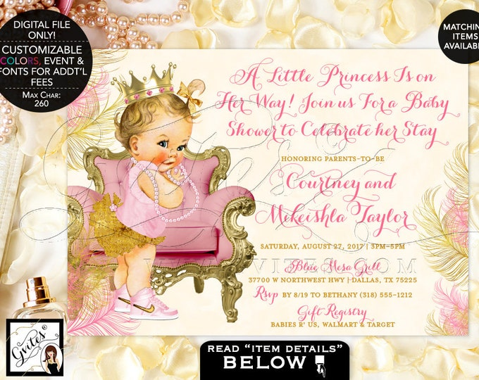 """Pink Ivory and Gold Baby Shower Invitations, Princess Baby Girl, Ribbons, Pearls, Ivory and Blush Pink, Digital, Gold Crown, 7x5"""" Gvites."""