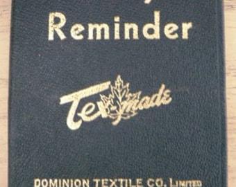 vintage ephemera ...  vintage leather DAILY REMINDER 1948 unused Log Book ...