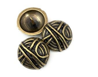 3 shank metal buttons,knot pattern , bronze metal,25mm # BU 036