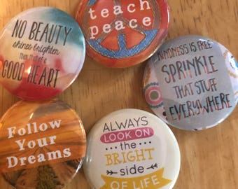 Dreams of World Peace Button Set, Backpack Pin Sale, Discount Bulk Badges Pins Boho Buttons, Compassion, Teach Peace Positive Vibes