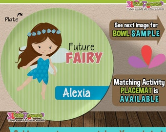 Future Fairy Plate and Bowl Set - Personalized Plastic Children Plate Cereal Bowl - CHOOSE HAIR SKIN color - Career Plate Set