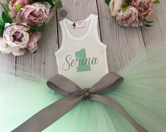 Mint Silver Baby Girl 1st Birthday Outfit | Baby Tutu | Tutu Dress | Birthday Dress | Baby Girls Cake Smash Outfits | Birthday Tutu