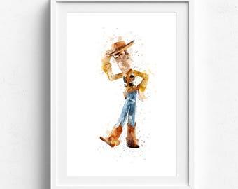 Pixar Toy Story Wall Art, Woody Watercolor Prints Wall Decor, Watercolor Art Print Poster, Kids Room Nursery Decor Hero Kids Gift Kids Print
