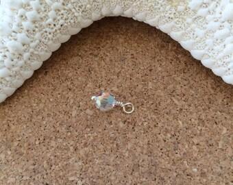 APRIL - Crystal SWAROVSKI Crystal Round Dangle - 6mm Crystal - Charm - Sterling Silver - Add-On - Birthstone - Clear Crystal - AB Crystal