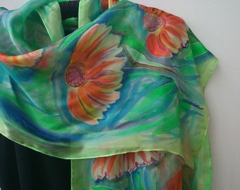 Hand Painted Green Silk Scarf. Marigold Silk Scarf for Her, Hand Painted Art to Wear. Artwork 16 x 59 in Scarf, Foulard, Painted by Artist