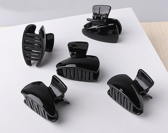 5 PCS 43mm Black Plastic Hair Clips , Blank Barrettes, alligator clip (1-228)