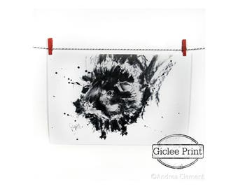 Poppy Guinea Pig Giclee Print of Charcoal & Ink Drawing