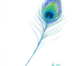 """Fine Art Giclee Watercolor Print """"Feather"""""""