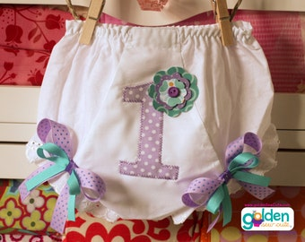Birthday Number or Initial Flower Bloomers, Diaper Cover with Bows