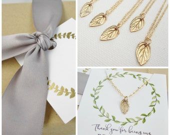 Tiny Gold Leaf bridesmaid necklace set of 5, five leaf necklaces, flower girl, junior bridesmaid gift spring autumn wedding jewelry set,