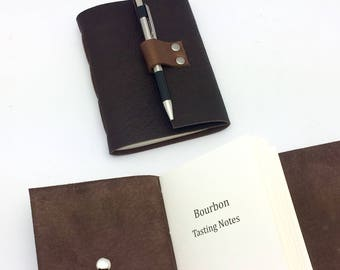 Brown Leather Bourbon Tasting Notebook - Bison leather