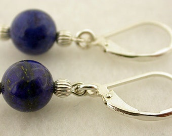 Genuine Lapis Lever Back Sterling Silver Earrings 51