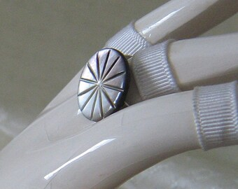 Mother of Pearl Carved Button Adjustable Ring