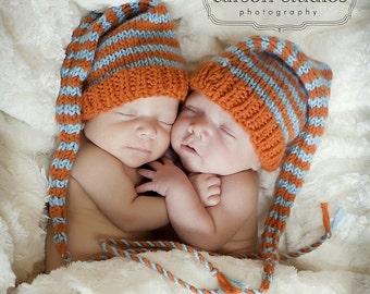 Newborn Baby HAT Knit Boy Girl BaBY PHoTO PRoP 1 LoNG TaIL Stocking Cap Orange Aqua Stripe CHooSe CoLORS Coming Home Beanie Gift ELf TOQuE