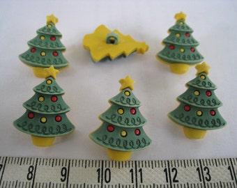 12pcs of Christmas Pine Tree Shank Button Matte