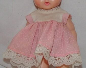 "Ginny Baby Vogue Dolls Vtg Doll Sleep Eyes Drinks Wets w/ Original Dress 12"" Vintage Toy With Pink Dress"