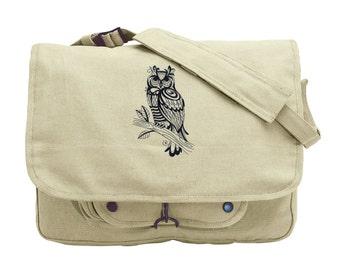 Sage Owl Embroidered Canvas Messenger Bag