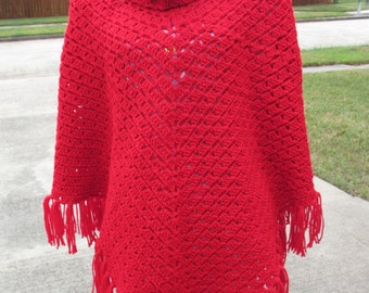 Crochet Poncho: For the Love of Red Poncho