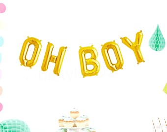 OH BOY Balloons, Foil Letter Balloon Banner, Gold, Silver, Blue, Pink, Rose Gold, bOy, Baby Reveal Balloon, Baby Balloon, Baby boy