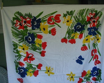 Vintage Tablecloth Bold Floral Print With Bright Multi Colors, Red, Yellow, Blue, and Red Flowers  on White Ground, Designer Weight Fabric