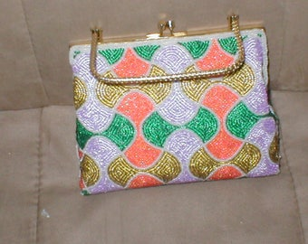 Vintage Evening Bag Purse with multi-color Beading