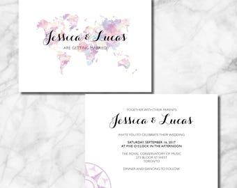 World Map Wedding Invitation for your Travel Theme Wedding or Event! Customized file for download