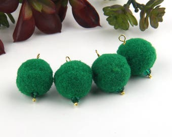 Green, Pompom Charms, PomPoms, Synthetic PomPom Dangles, PomPom Bag Charms, Mala Pompoms, Yoga Accesories, 4 pieces // CH-011