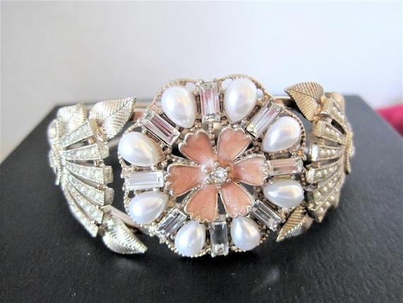 Pearl Clamper Bracelet, Enamel Rhinestone Highlights, Vintage Clamper Cuff,  60's Wedding  Bangle
